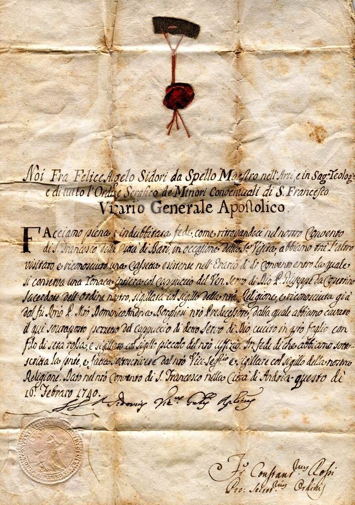 UNA IMPORTANTE RELIQUIA DI SAN GIUSEPPE DA COPERTINO (1740) NEL MUSEO ETNOGRAFICO CERIGNOLANO
